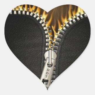 Cremallera ardiente pegatinas corazon personalizadas