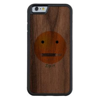 Cremallera de encargo él smiley feliz de la cara funda de iPhone 6 bumper nogal