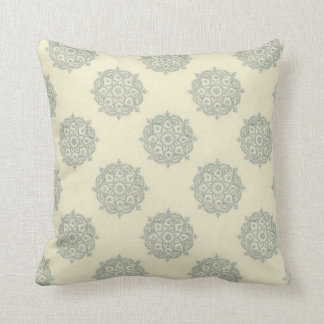 Creme and Baby Blue Medallion Throw Pillow