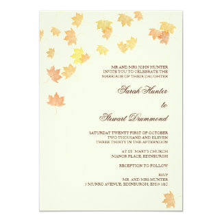 Creme Autumn Maple Leaf Wedding Invitation