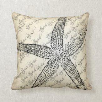 Creme,Black,Starfish Designed Throw Pillow