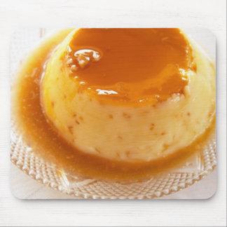 Creme caramel type of pudding with caramel mouse pad
