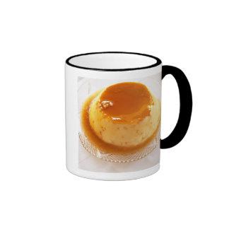 Creme caramel type of pudding with caramel coffee mugs