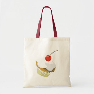 Creme cupcake with cherry tote canvas bag