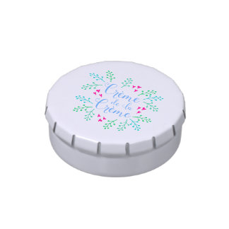 Creme de La Creme French Floral Typography Jelly Belly Candy Tins