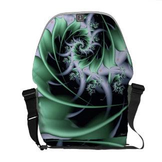 Creme De Menthe Iced Fractal Swirl Messenger Bag