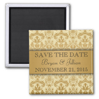 Creme & Gold Regal Damask Flourish Save the Date 2 Inch Square Magnet