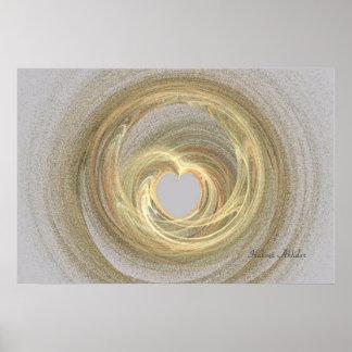Creme heart abstract Halima Ahkdar Print