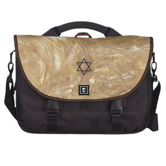 Creme Marble Faux Stone Star Of David Monogram Commuter Bags