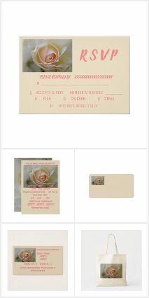CREME ROSE WEDDING INVITATION ENSEMBLE COLLECTION