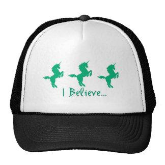 Creo diseño verde del unicornio gorras de camionero