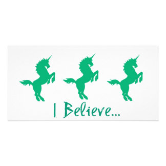 Creo diseño verde del unicornio tarjetas fotográficas personalizadas