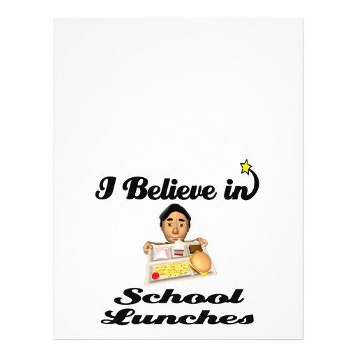 creo en almuerzos escolares tarjeta publicitaria