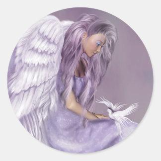 Creo en ángeles pegatina redonda