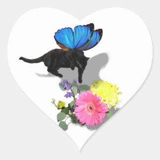 Creo en animales del insecto de las hadas del gati pegatina de corazon