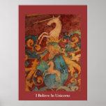 Creo en arte medieval del POSTER de los unicornios
