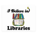 creo en bibliotecas tarjeta postal