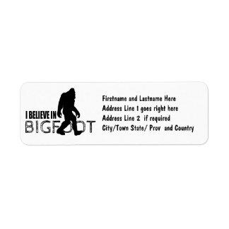 Creo en Bigfoot Sasquatch divertido Etiqueta De Remite