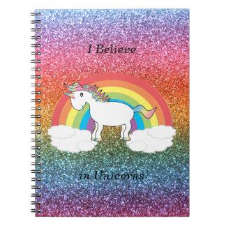 Creo en brillo del arco iris de los unicornios note book