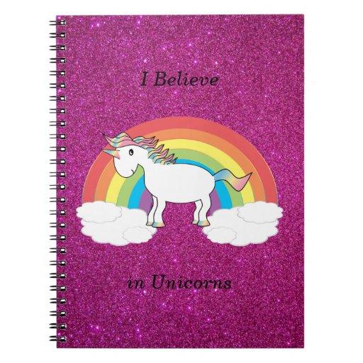 Creo en brillo del rosa de los unicornios libros de apuntes