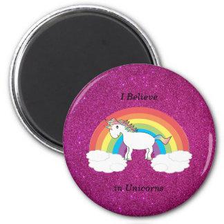 Creo en brillo del rosa de los unicornios imán redondo 5 cm
