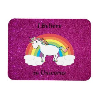 Creo en brillo del rosa de los unicornios rectangle magnet