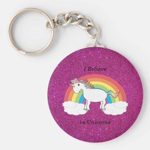 Creo en brillo del rosa de los unicornios llavero