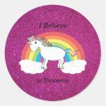 Creo en brillo del rosa de los unicornios pegatinas