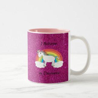 Creo en brillo del rosa de los unicornios taza de café de dos colores