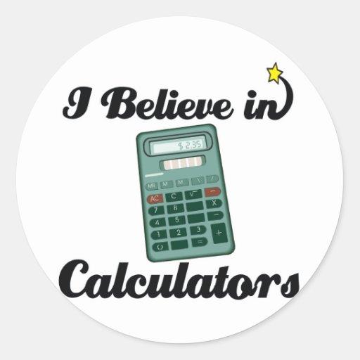 creo en calculadoras pegatina redonda