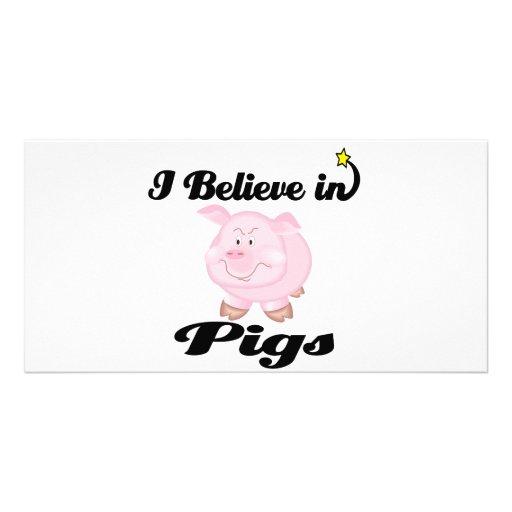 creo en cerdos tarjeta con foto personalizada