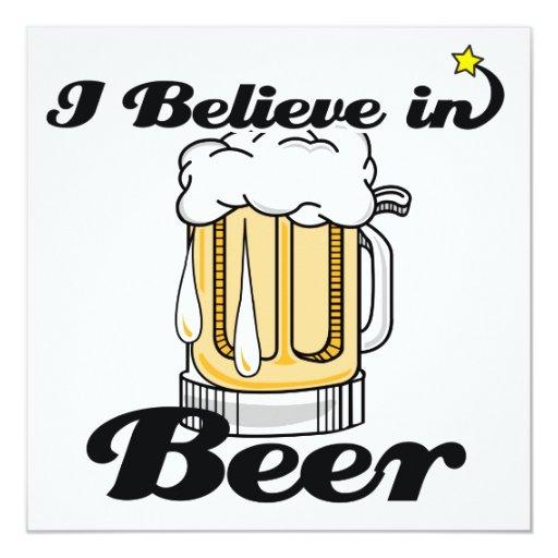 """creo en cerveza invitación 5.25"""" x 5.25"""""""