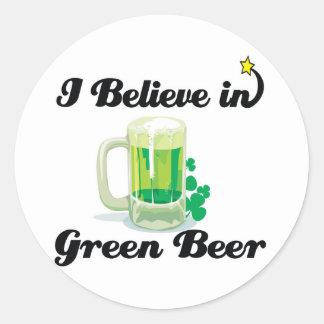 creo en cerveza verde etiquetas redondas