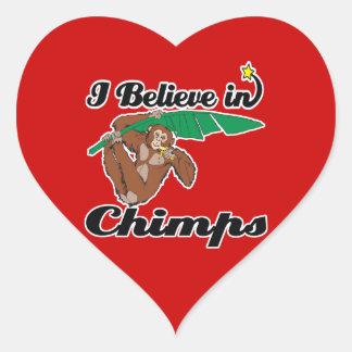 creo en chimpancés pegatina en forma de corazón