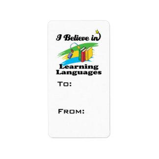 creo en el aprendizaje de idiomas etiqueta de dirección