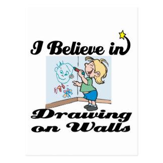 creo en el dibujo en las paredes tarjetas postales