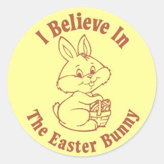 Creo en el pegatina del conejito de pascua