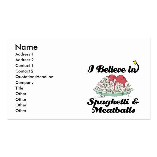 creo en espaguetis y albóndigas plantillas de tarjetas de visita