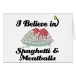 creo en espaguetis y albóndigas tarjetas
