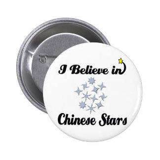 creo en estrellas chinas pin redondo de 2 pulgadas