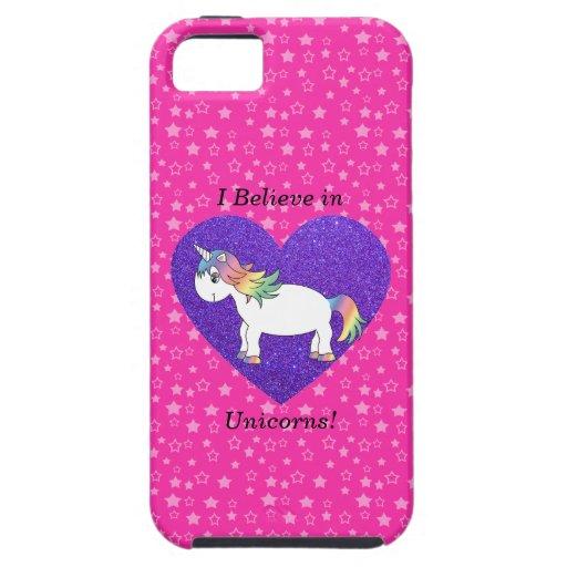 Creo en estrellas del rosa de los unicornios iPhone 5 protector