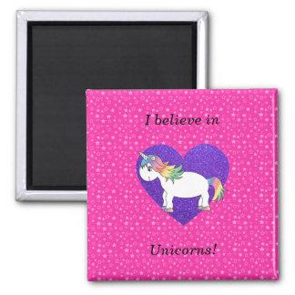 Creo en estrellas del rosa de los unicornios imán cuadrado
