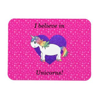 Creo en estrellas del rosa de los unicornios imanes rectangulares