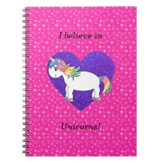 Creo en estrellas del rosa de los unicornios libros de apuntes con espiral
