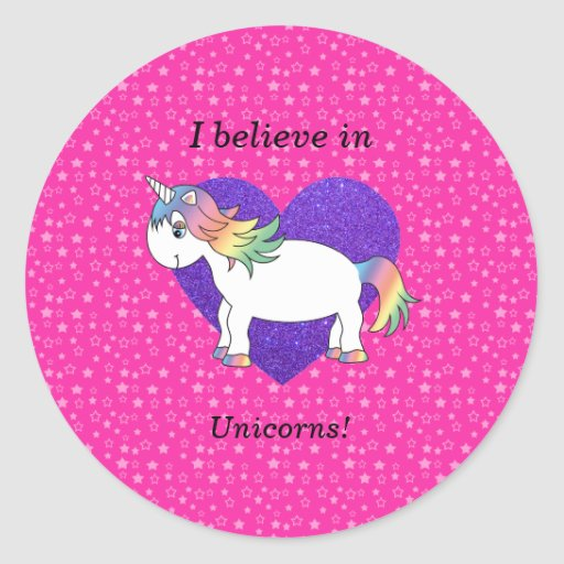 Creo en estrellas del rosa de los unicornios etiqueta redonda