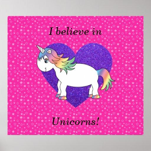 Creo en estrellas del rosa de los unicornios póster