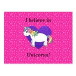 Creo en estrellas del rosa de los unicornios postal