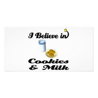 creo en galletas y leche tarjetas fotográficas personalizadas