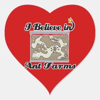 creo en granjas de la hormiga pegatina corazón personalizadas
