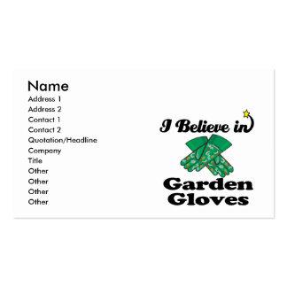 creo en guantes del jardín tarjetas de visita